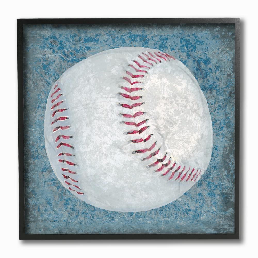 "12 in. x 12 in. ""Grunge Sports Equipment Baseball"" by Studio W Printed Framed Wall Art"