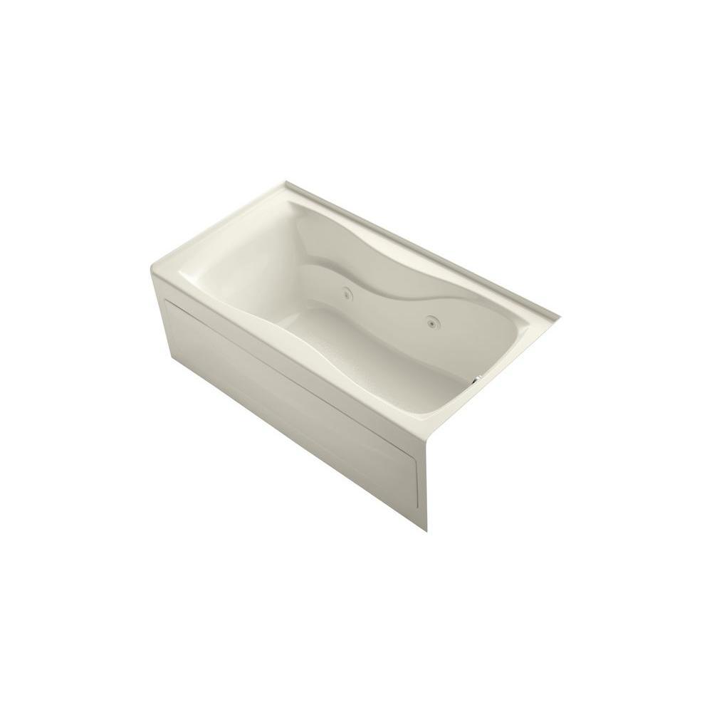 KOHLER Hourglass 5 ft. Acrylic Right Drain Hourglass Rectangular Alcove Whirlpool Bathtub in Biscuit