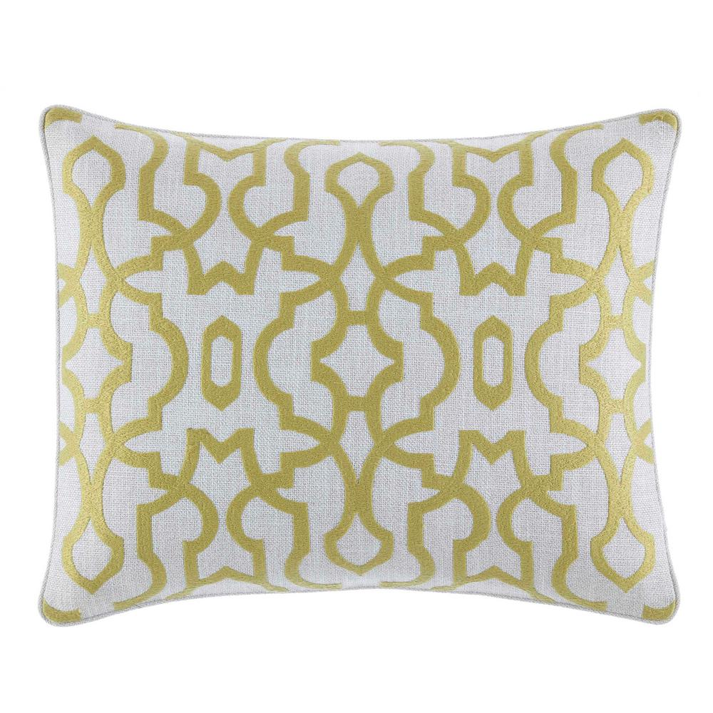 Palmiers Embroidered Trellis 16 in. x 20 in. Throw Pillow, Green Bring the beauty of the islands to your bedroom with the Tommy Bahama Palmiers Oblong Throw Pillow. Decked out in a trellis pattern in shades of ivory and light green, the throw pillow is the perfect finishing touch to your tropical bedding. Dimensions: (16 in. x 20 in.).