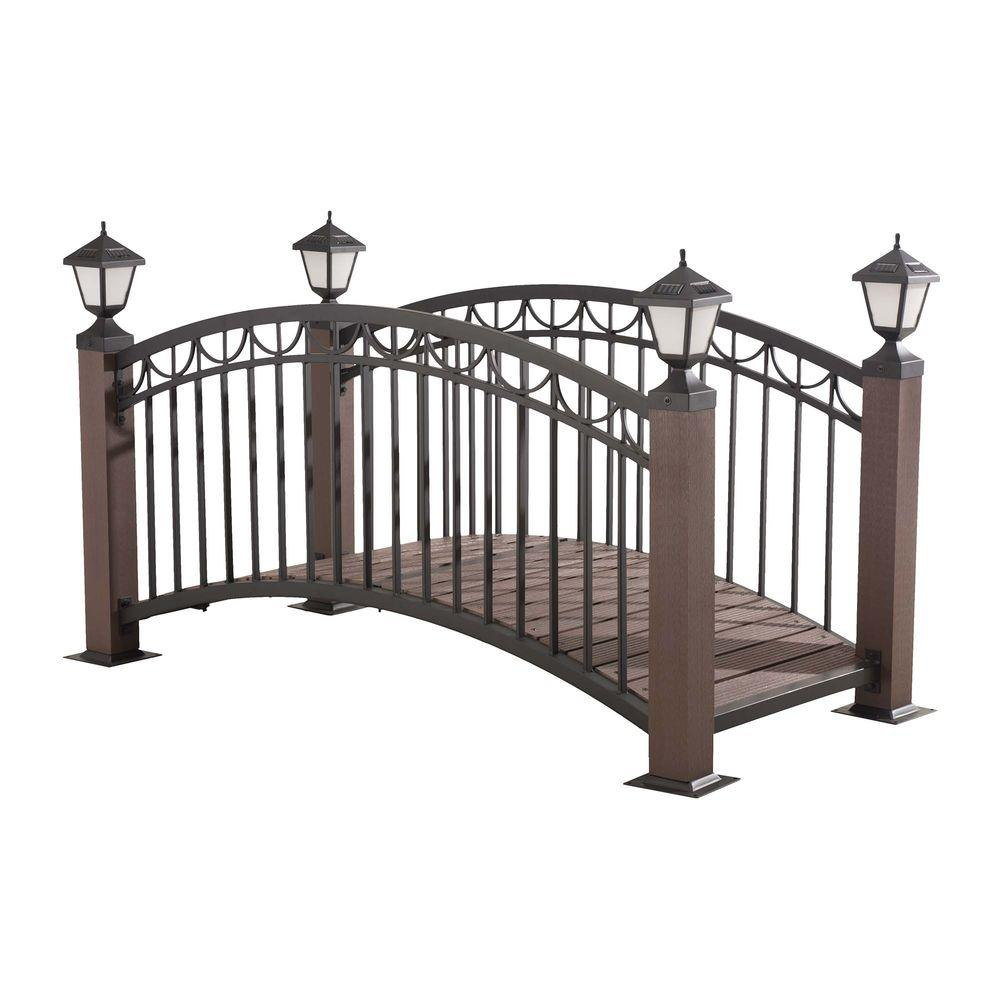 Sunjoy Steel Garden Bridge With LED Light The Home Depot - Garden bridges