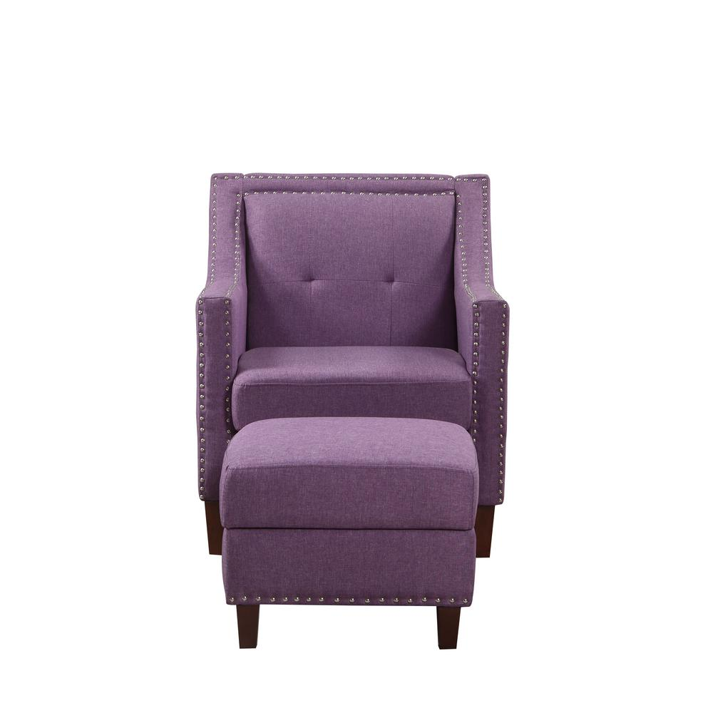Purple Accent Chair with Storage Ottoman-92013-16PL - The ...