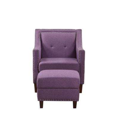 Purple Accent Chair with Storage Ottoman
