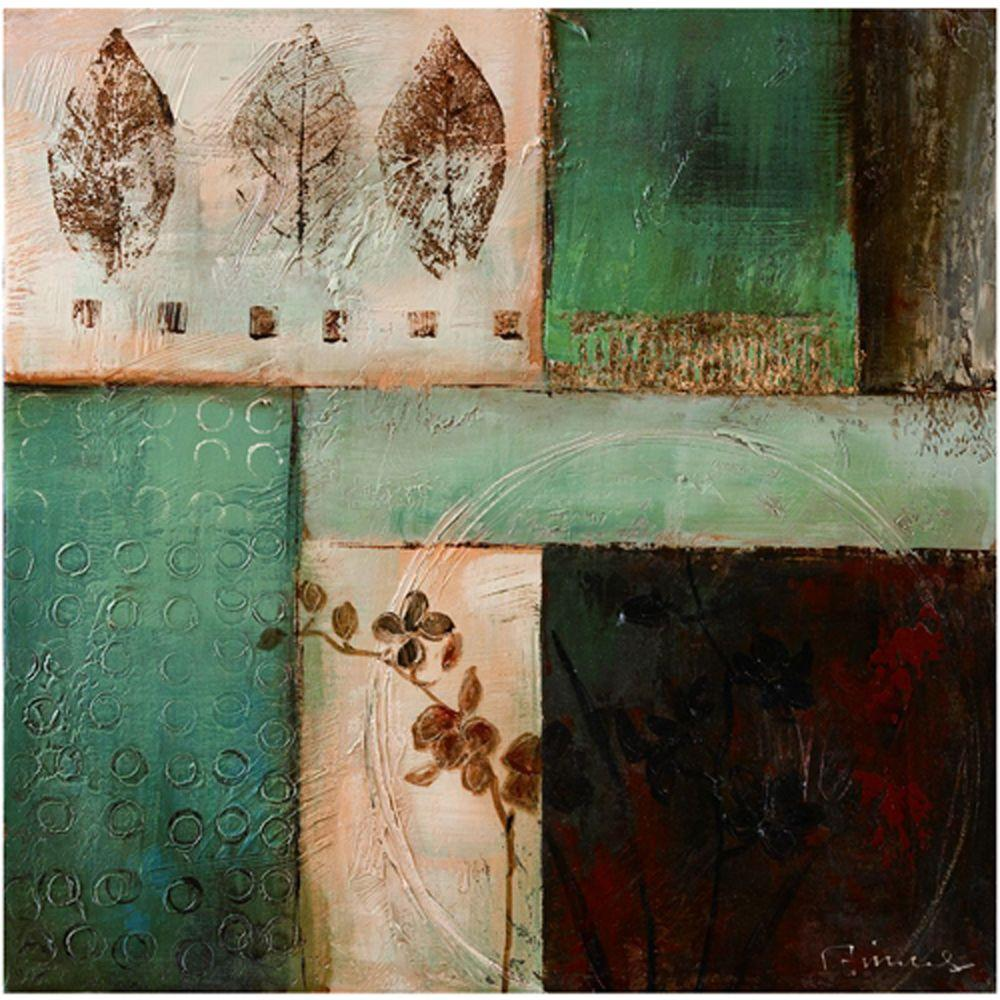 """Yosemite Home Decor 24 in. x 24 in. """"The Woods I"""" Hand Painted Contemporary Artwork"""