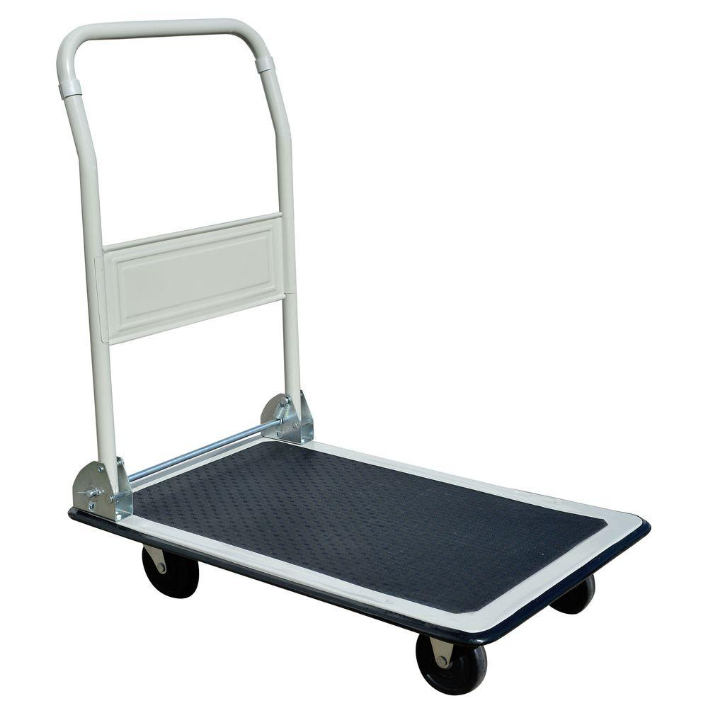 capacity steel folding 4wheeled platform truck in white