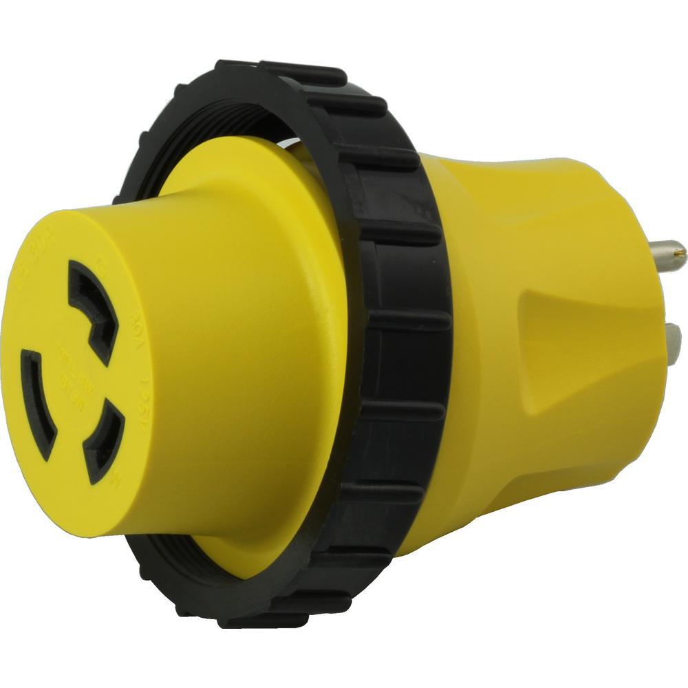 RV/ Marine Adapter Regular Household 15 Amp Plug to 30 Amp RV/Marine L5-30R Female Connector