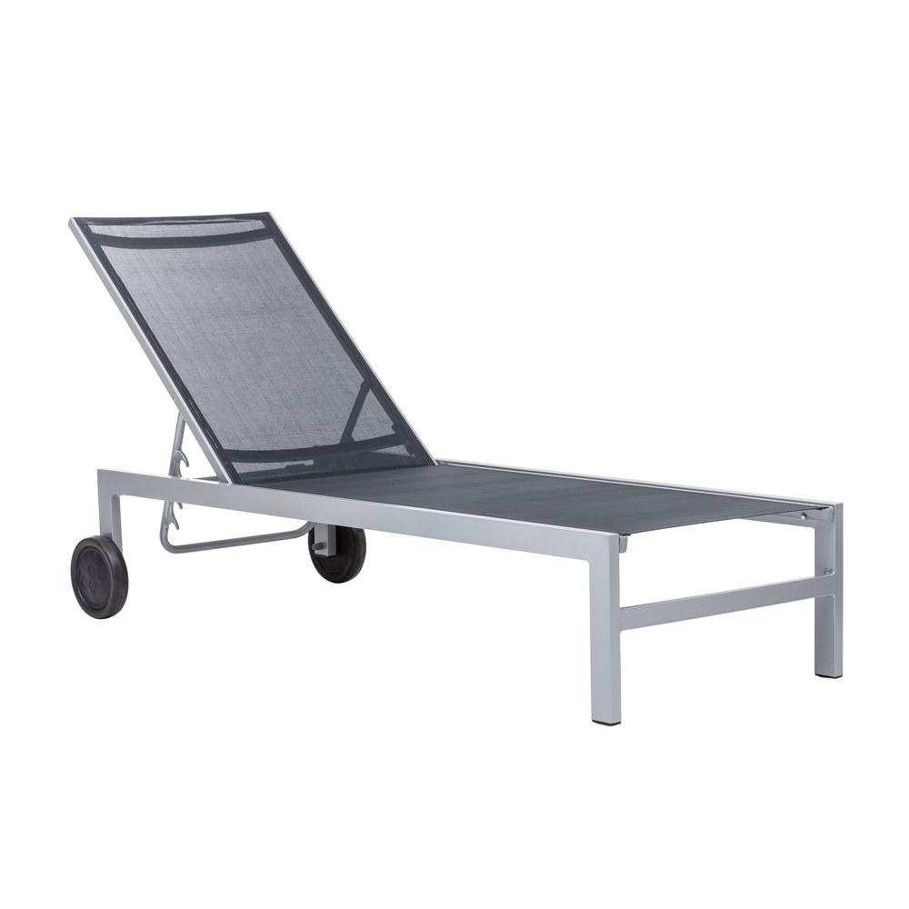 ZUO Castle Peak Black and Silver Patio Chaise Lounge