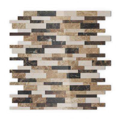 Amber Brown 11.65 in. X 11.34 in. X 5 mm Stone Self-Adhesive Wall Mosaic Tile (11.04 sq. ft. / case)