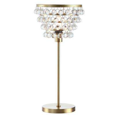 Buckingham 25 in. Brass Gold/Clear Crystal/Metal Table Lamp