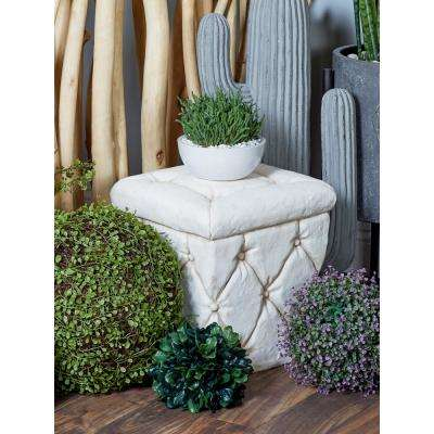 White Square Tufted Ottoman-Inspired Garden Stool