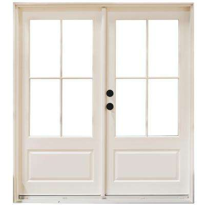60 in. x 80 in. Fiberglass Smooth White Right-Hand Inswing Hinged 3/4-Lite Patio Door with 4-Lite SDL