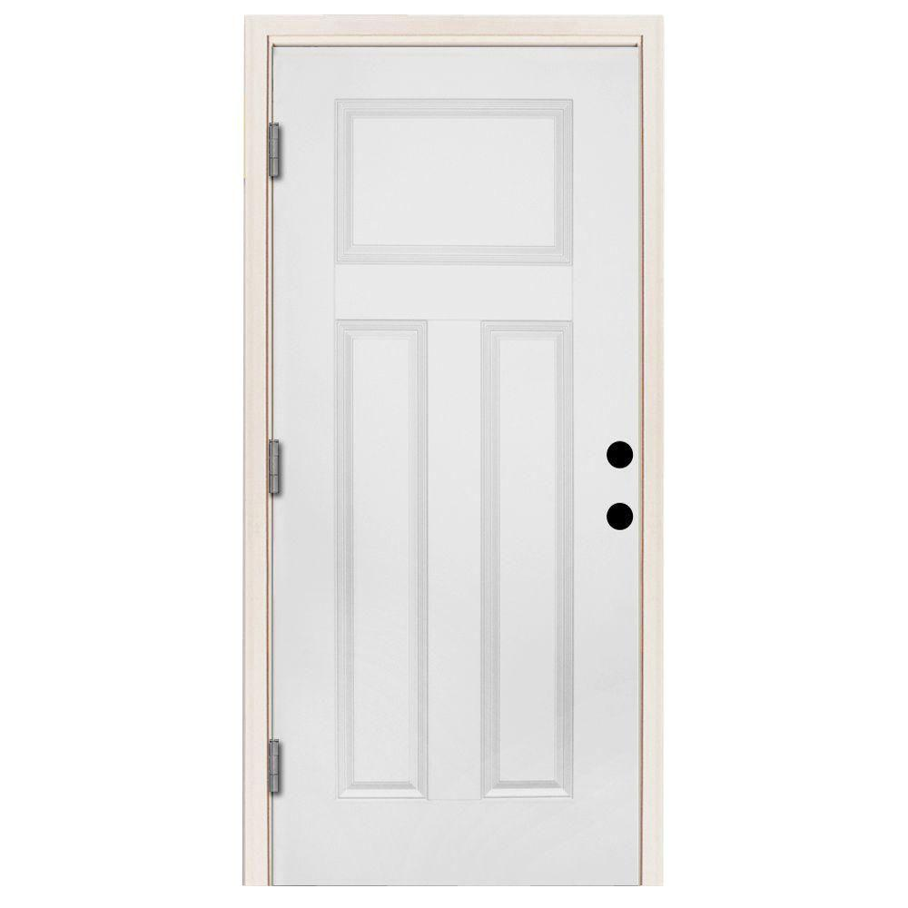 Steves & Sons 36 in. x 80 in. Premium 3-Panel Primed White Steel Prehung Front Door with 36 in. Right-Hand Outswing and 4 in. Wall