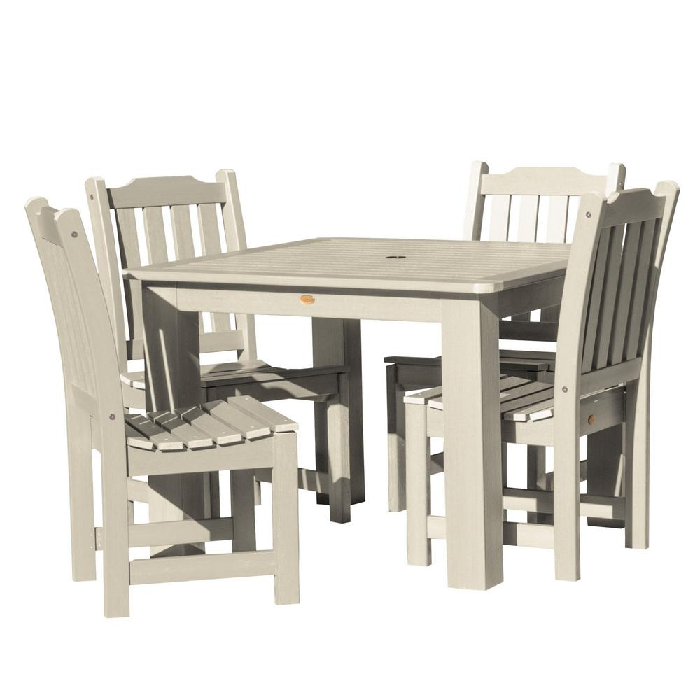 Highwood Lehigh Whitewash 5-Piece Recycled Plastic Square Outdoor Dining Set