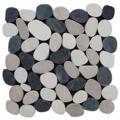 Sliced Pebble Tile Black, White, Tan 11-1/2 in. x 11-1/2 in. x 9.5 mm Mesh-Mounted Mosaic Tile (10.098 sq. ft. / case)