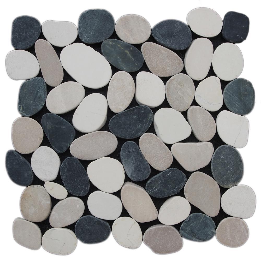 Sliced Pebble Tile  Black/White/Tan  11-1/2 in. x 11-1/2 in. x 9.5mm Honed Pebble Mosaic Tile (10.12 sq. ft. / case)