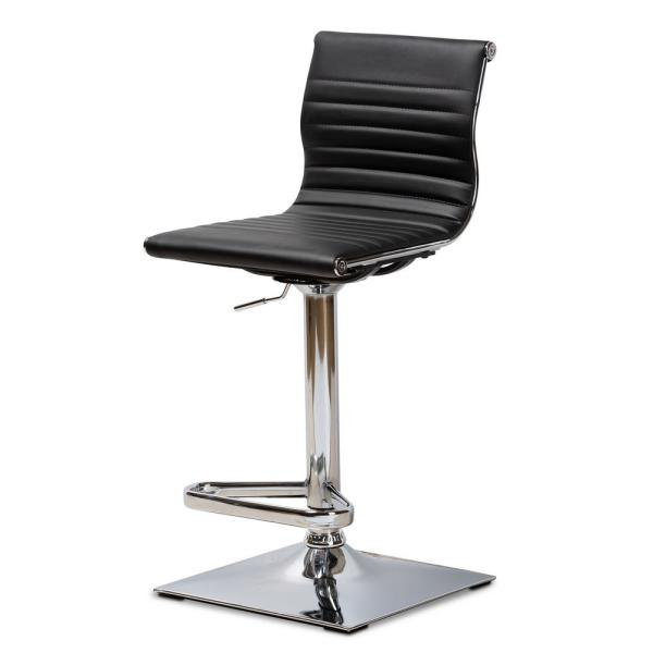 Baxton Studio Vanni 37-45 in. Black Adjustable Swivel Bar Stool 150-9123-HD