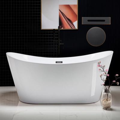 Kimball 67 in. Acrylic Freestanding Double Slipper Flat Bottom Soaking Bathtub with Drain and Overflow Included in White