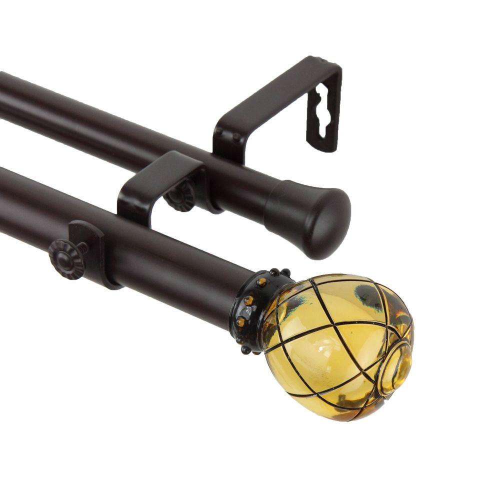 Rod Desyne 28 in. - 48 in. 1 in. Supreme Double Curtain Rod Set in Clear Champagne