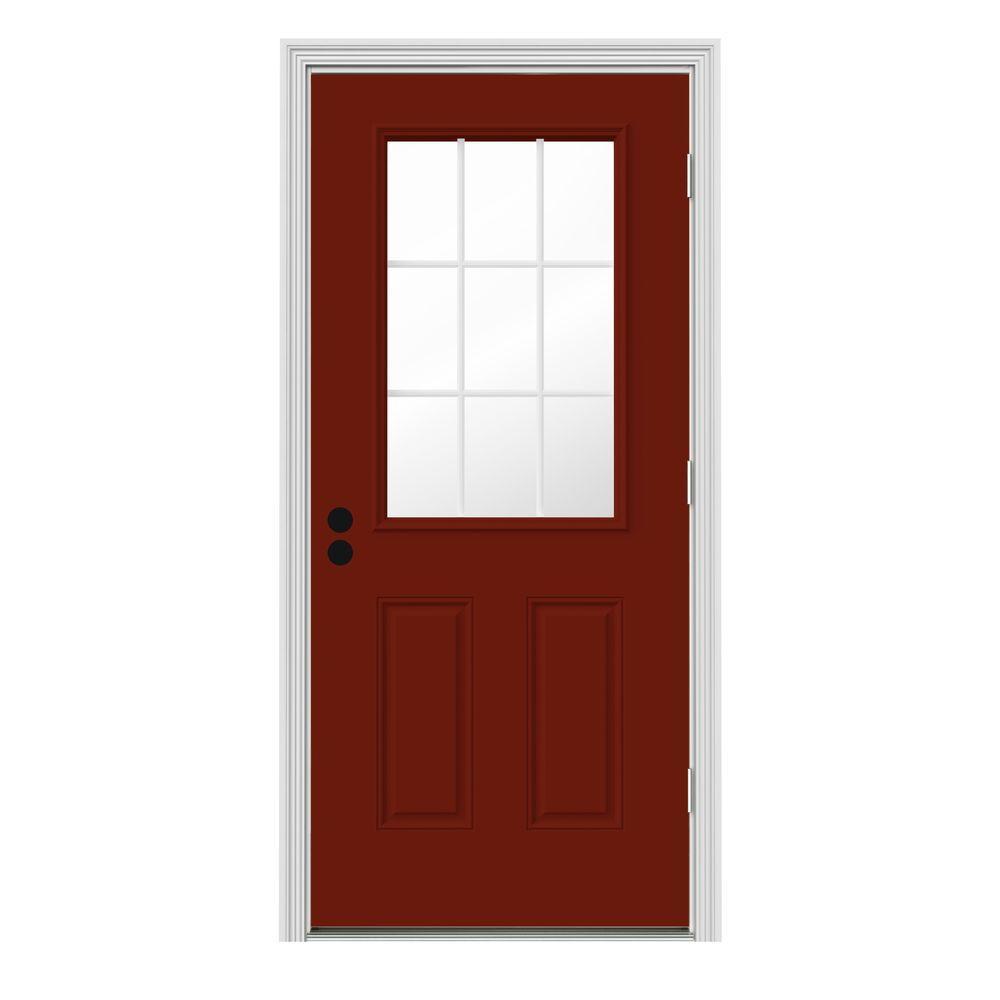 JELD-WEN 30 in. x 80 in. 9 Lite Mesa Red w/ White Interior Steel Prehung Left-Hand Outswing Front Door w/Brickmould