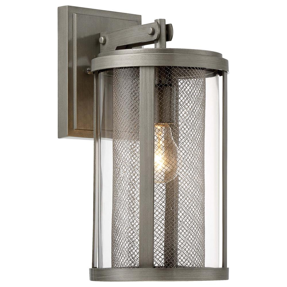 the great outdoors by Minka Lavery Radian Collection 1-Light Painted Brushed Nickel Outdoor Wall Lantern Sconce with Clear Glass