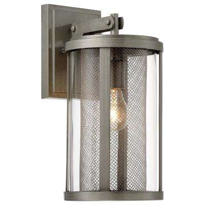Radian Collection 1-Light Painted Brushed Nickel Outdoor Wall Lantern Sconce with Clear Glass