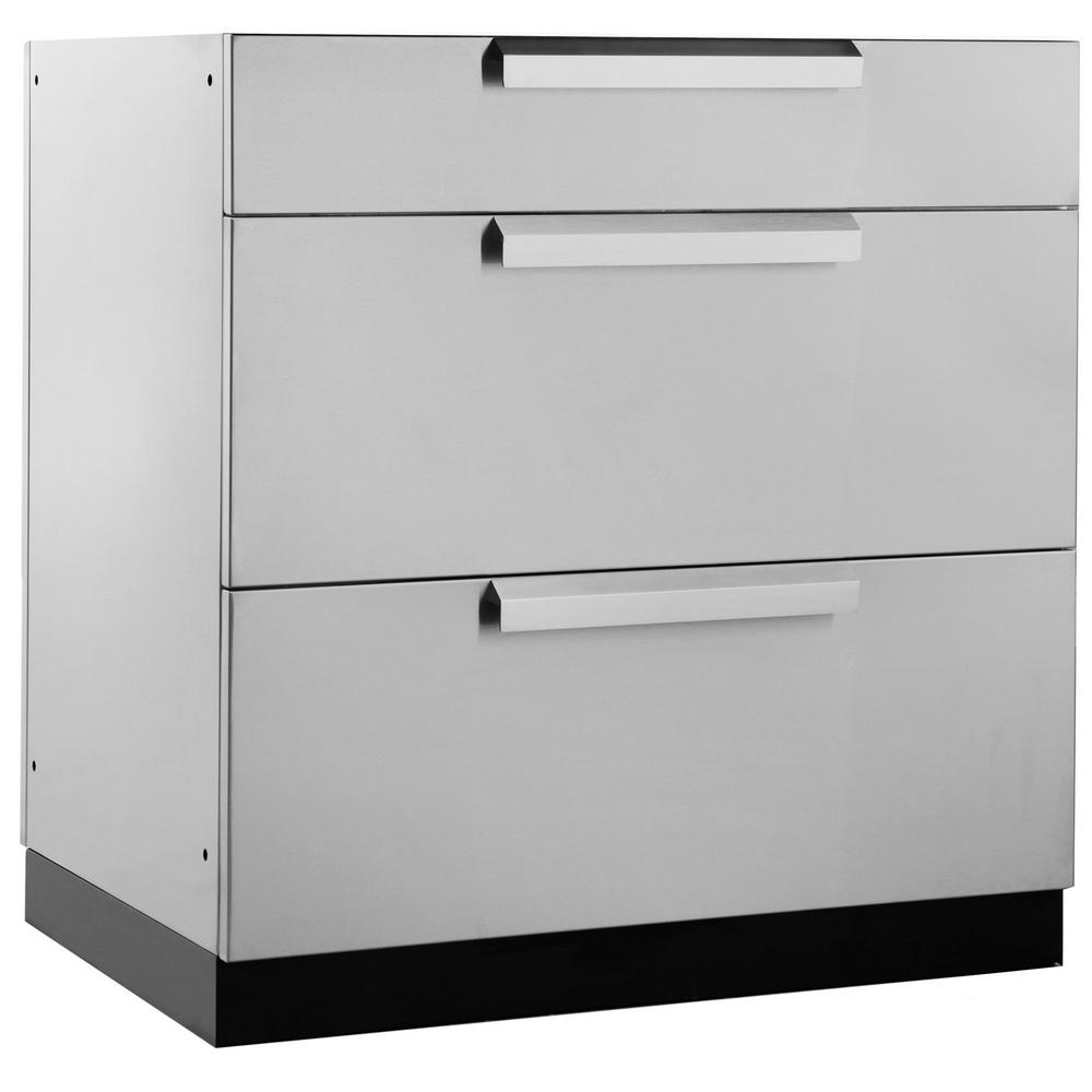 Newage products stainless steel classic 32 in 3 drawer for Kitchen cabinet drawers