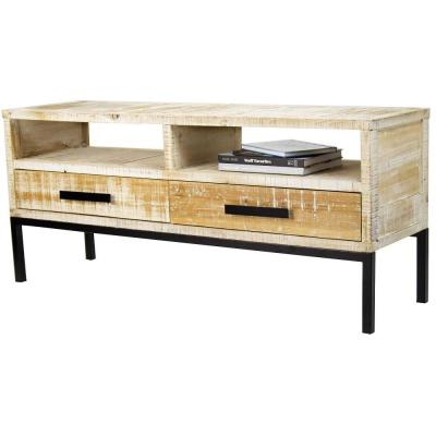 Shelly Assembled 47 in. x 47 in. x 14.25 in. Distressed Wood TV Stand Storage Cabinet with 2 Shelves and 2 Drawers