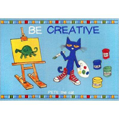 Pete The Cat Elementary Multi Be Creative 35.4 in. x 51 in. Indoor Area Rug