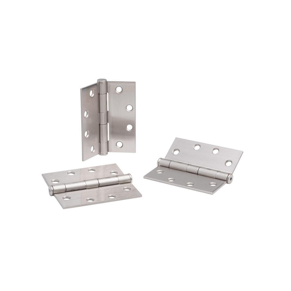 Fоur Paсk Set of 2 x 3.5 in Global Door Controls 3.5 in Satin Nickel Plain Bearing Steel Hinge