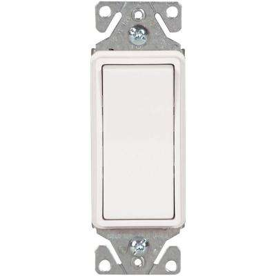 15 Amp 120/277-Volt Heavy-Duty Grade Single-Pole Decorator Lighted Rocker Switch with Back and Push Wire, White