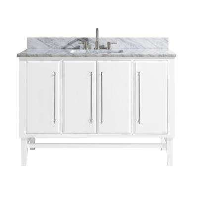 Mason 49 in. W x 22 in. D Bath Vanity in White with Silver Trim with Marble Vanity Top in Carrara White with White Basin