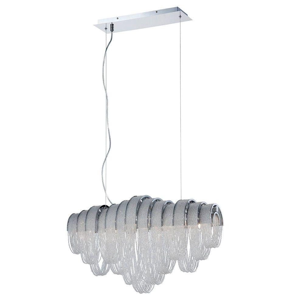 Eurofase Sage Collection 5-Light Chrome and Clear Linear Chandelier with Crystal Shade