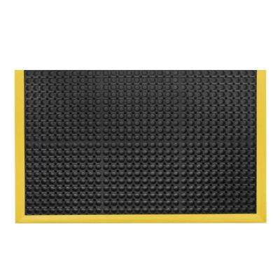 Safety Stance Black with Yellow Safety Border 38 in. x 40 in. Rubber Anti-Fatigue/Safety Mat