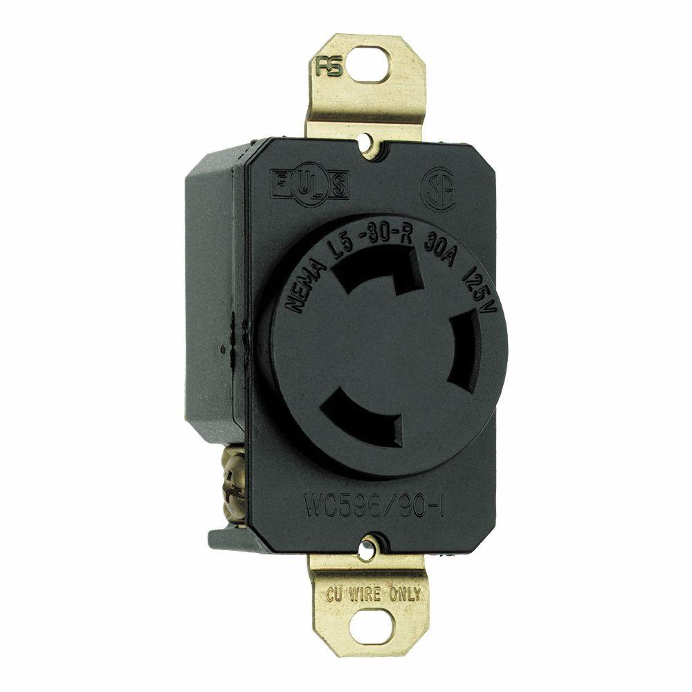 turnlok 30 amp single locking single outlet - black