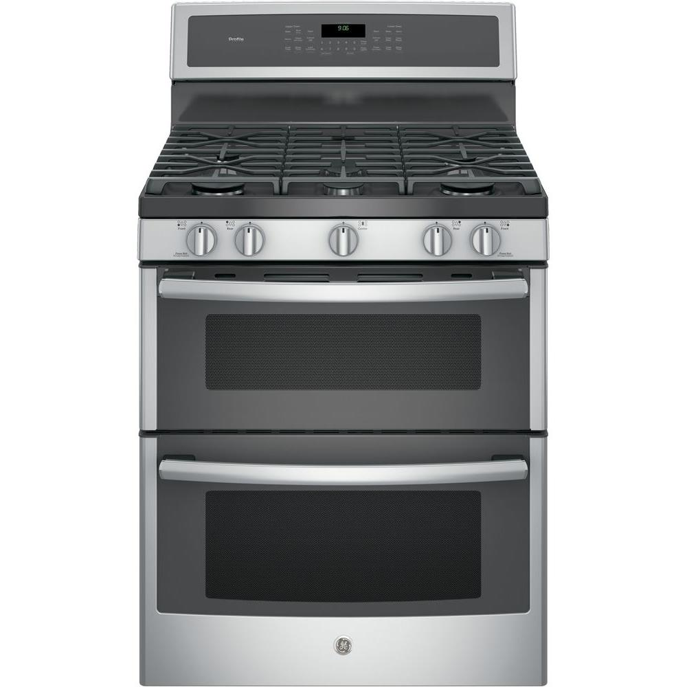GE Profile 30 in. 6.8 cu. ft. Double Oven Gas Range with Self-Cleaning in Stainless Steel