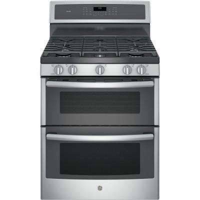 Profile 30 in. 6.8 cu. ft. Double Oven Gas Range with Self-Cleaning in Stainless Steel