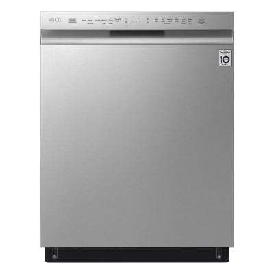 24 in. Front Control Built-In Dishwasher in PrintProof Stainless Steel with QuadWash, 3rd Rack, SmartThinQ, 46 dBA