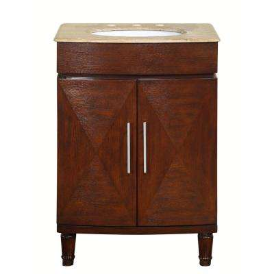 26 in. W x 22 in. D Vanity in Dark Chestnut with Stone Vanity Top in Travertine with White Basin