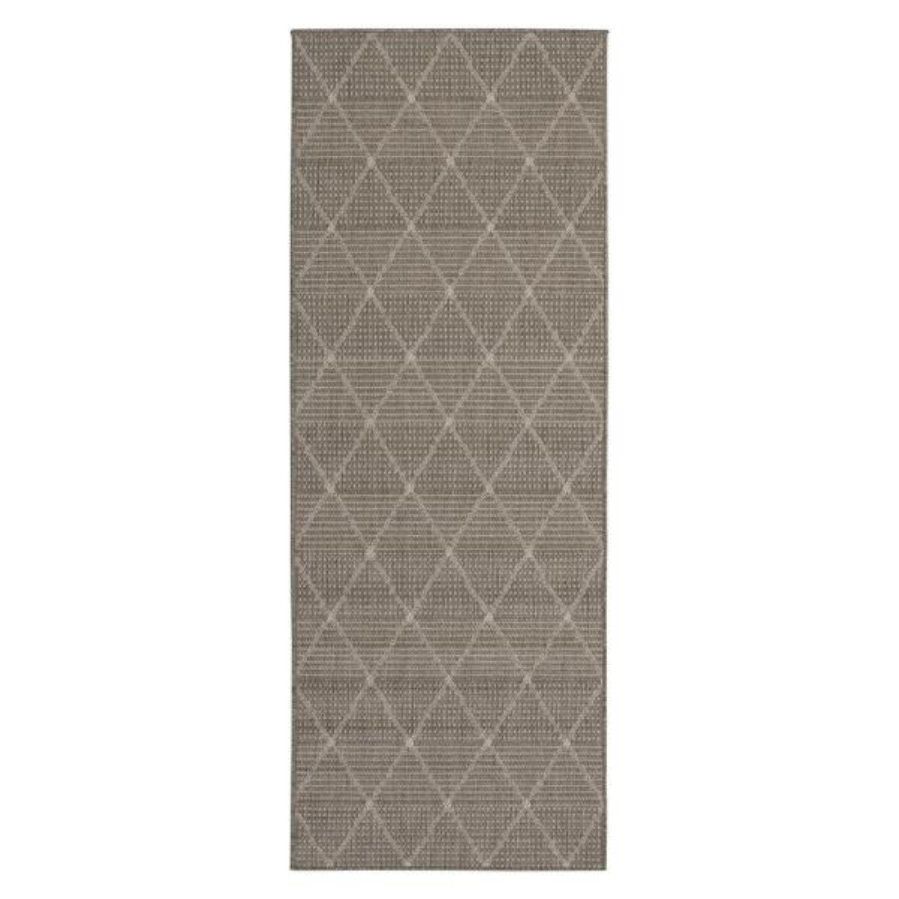 Jardin Collection Gray Contemporary Trellis Design Gray Indoor/Outdoor 1 ft. 8 in. x 4 ft. 11 in. Jute Back Runner Rug