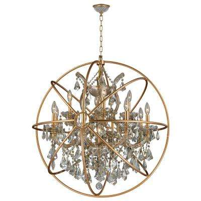 Armillary 13-Light Gold Crystal Chandelier