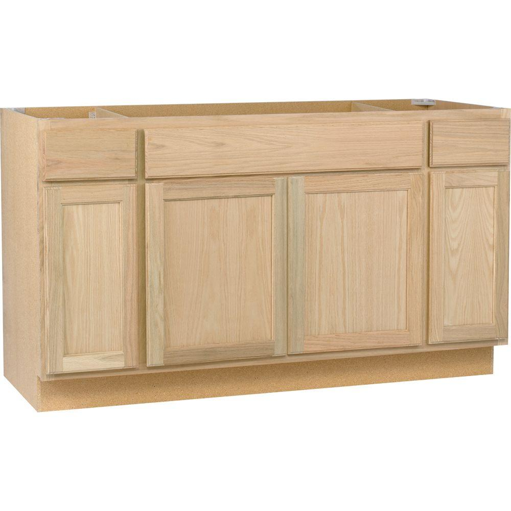 assembled 60x34 5x24 in sink base kitchen cabinet in unfinished oak rh homedepot com corner sink cabinet home depot sink base cabinet home depot