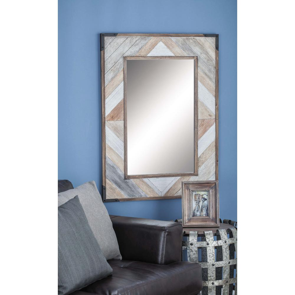08086bea9f5a7 Litton Lane 38 in. x 28 in. Rustic Chevron-Patterned Framed Wall Mirror