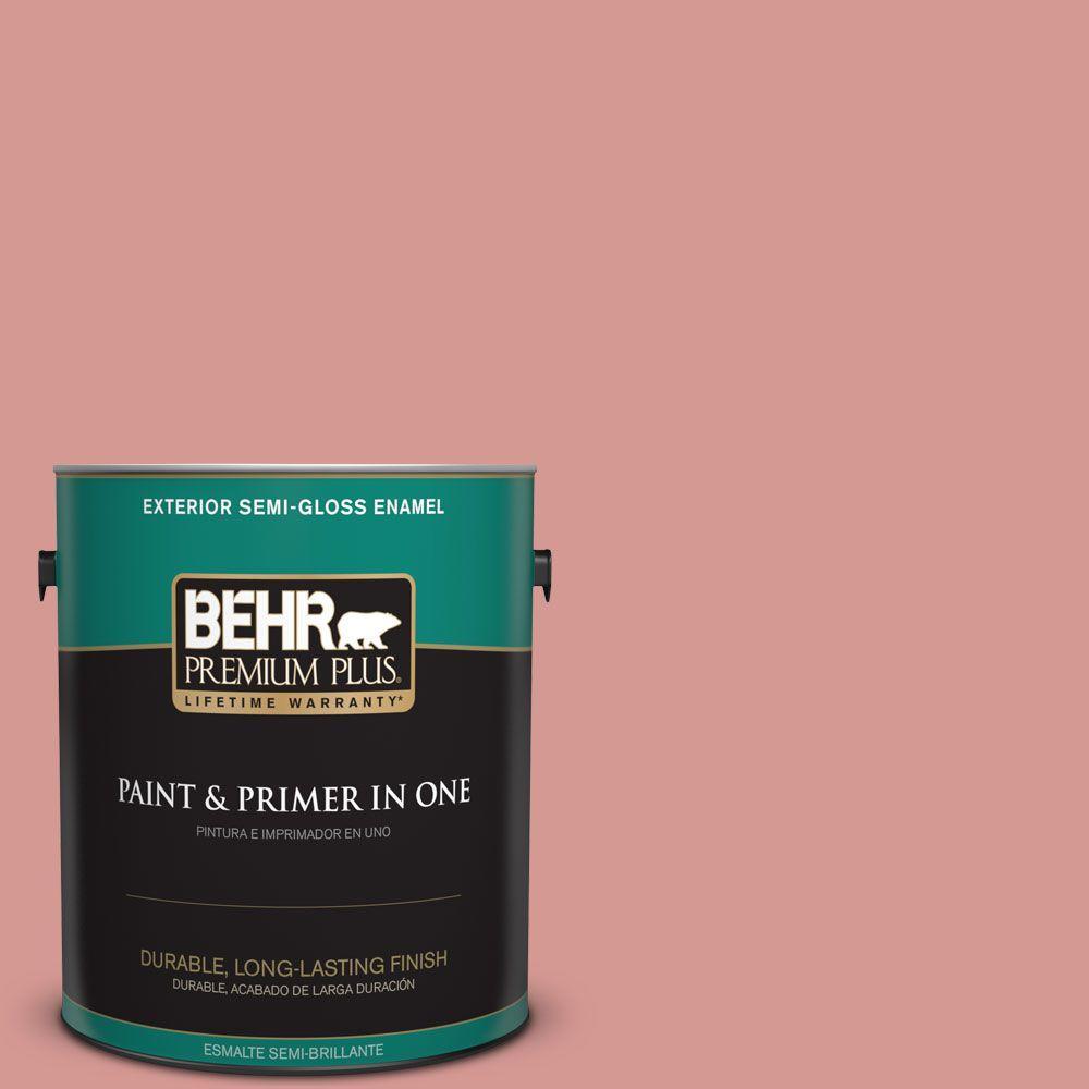 BEHR Premium Plus 1-gal. #T13-15 Shanghai Peach Semi-Gloss Enamel Exterior Paint