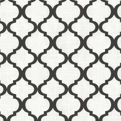 Palace Black Quatrefoil Wallpaper Sample