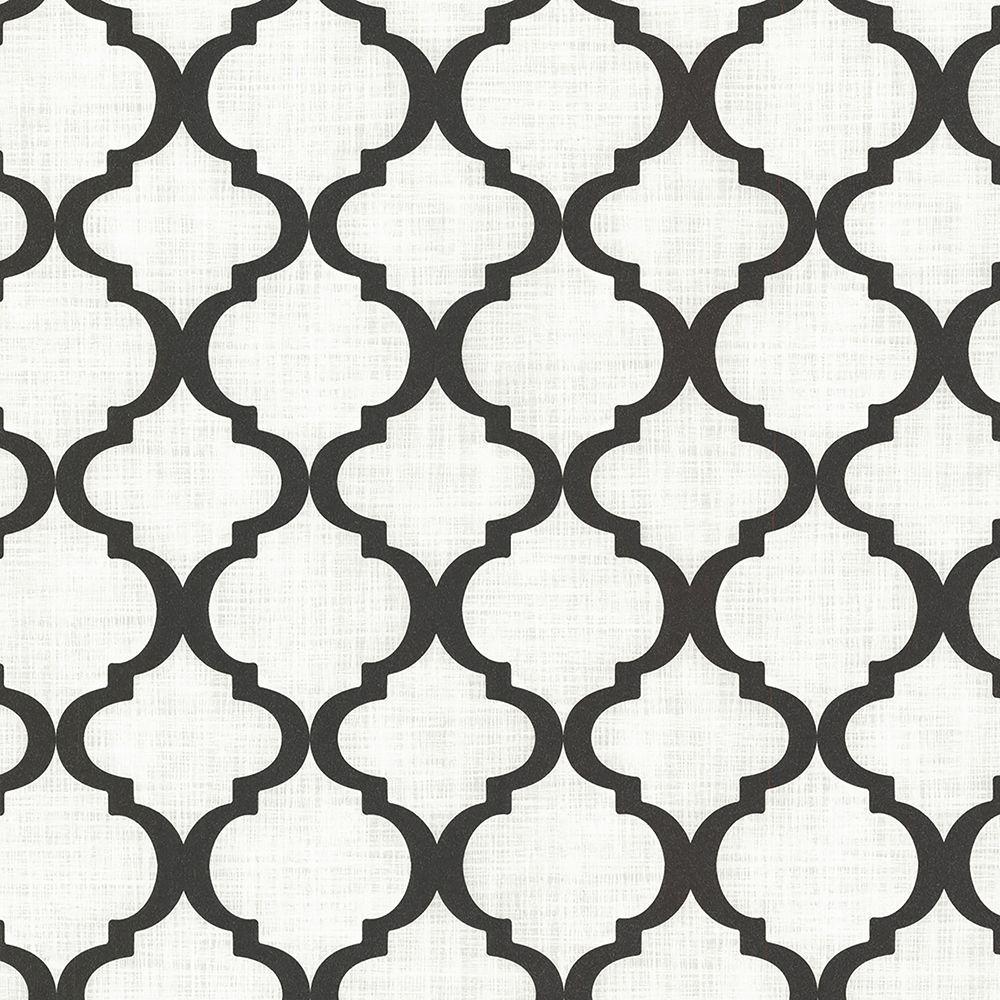 Palace Black Quatrefoil Wallpaper Sample