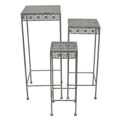 11 in. L x 11 in. W x 28 in. H Square Green Metal Plant Stand (Set of 3)