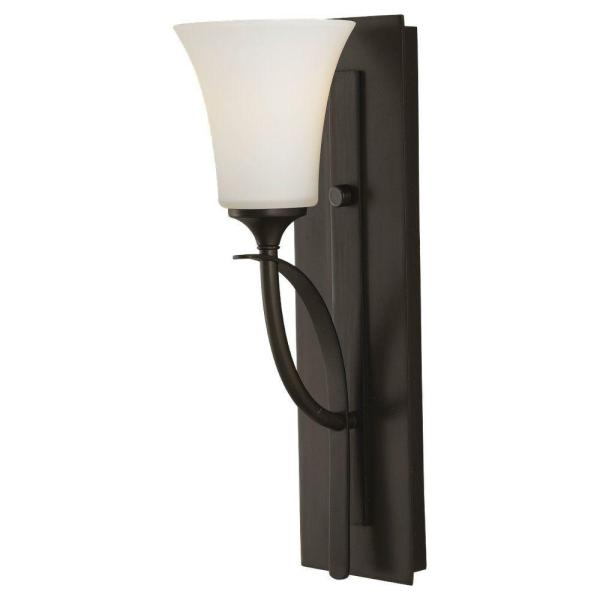Barrington 5 in. W. 1-Light Oil Rubbed Bronze Sconce with Opal Etched Glass Shade