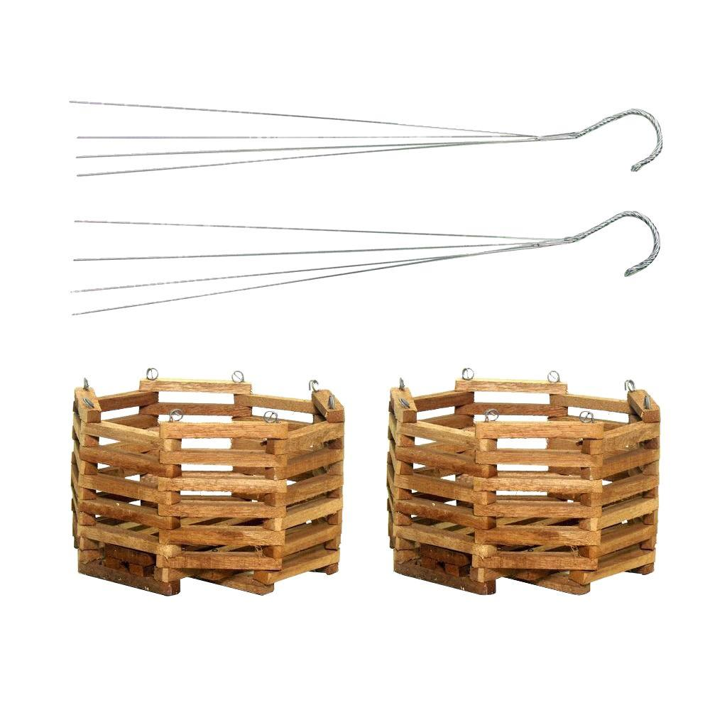 Better-Gro 8 in. Wooden Octagon Hanging Baskets (2-Pack)