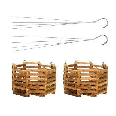8 in. Wooden Octagon Hanging Baskets (2-Pack)