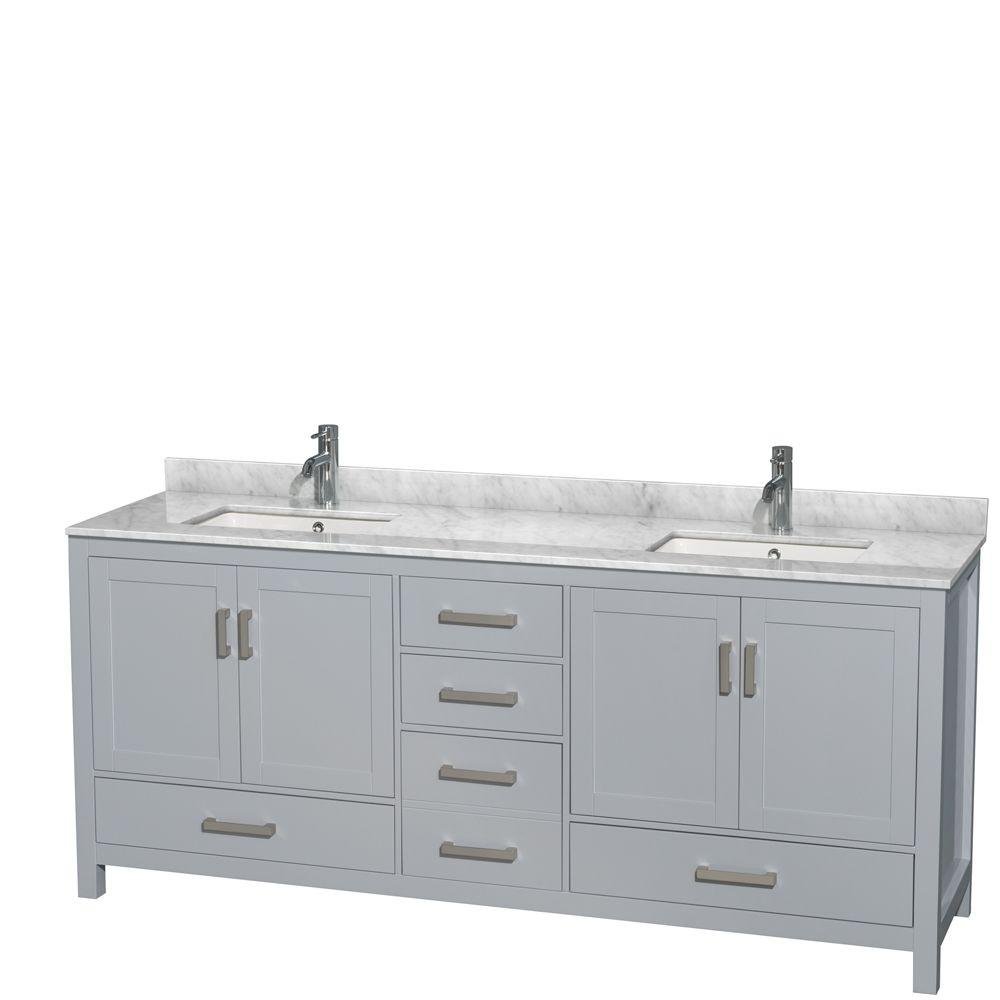 Wyndham collection sheffield 80 in w x 22 in d vanity in gray with marble vanity top in for 80 bathroom vanities without tops