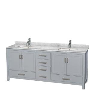 Wyndham Collection Sheffield 80 inch W x 22 inch D Vanity in Gray with Marble Vanity Top... by Wyndham Collection